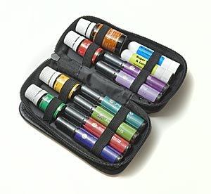8-Bottle Essential Oil Roll-Ons Pocket Presenter Case 5-15Ml - Black