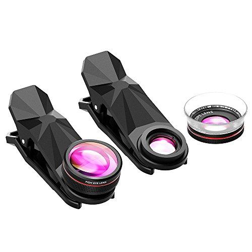 Pictek-Fisheye-Lens-Clip-On-3-in-1-Fisheye-12X-Macro-24X-Super-Macro-Phone-Camera-Lens-Kit-for-iPhone-66s6-iPhone7-iOS-and-Android-Smartphones