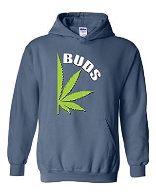 Xekia Best BUDS Pot Leaf Marijuana Weed Cannabis Unisex Hoodie Sweatshirt