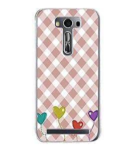 Hearts Pattern 2D Hard Polycarbonate Designer Back Case Cover for Asus Zenfone 2 Laser ZE550KL (5.5 INCHES)