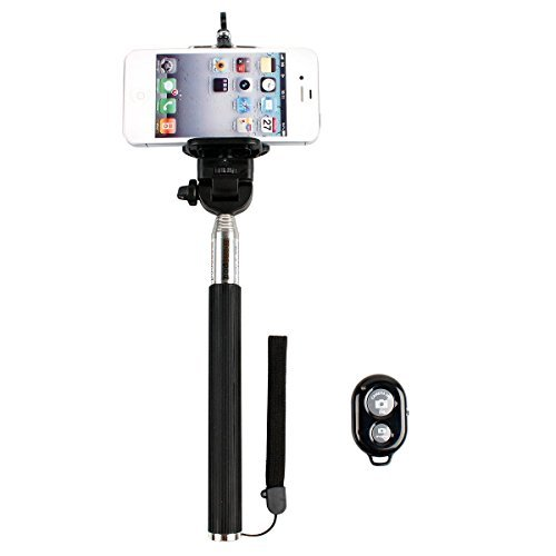 InnoGear Extendable Camera Selfie Self Portrait Shooting Pole Adjustable Handheld Monopod Mount Holder for iPhone 5s 5c 5 4s 4 HTC One LG Sony Samsung Galaxy S3 S4 Mobile Cell Phone with Bluetooth Remote Camera Control Wireless Shutter (Shutter with Mononpod)