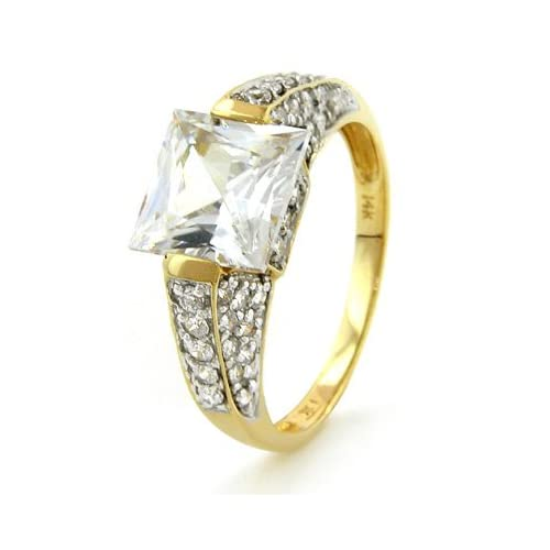 14K Princess Cut & Round Cubic Zirconia Ring