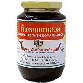 Pantainorasingh Brand Thai Chile Paste With Soyabean Oil Prik Pao - 16 Oz X 2 Jars by Pantainorasingh
