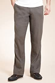 Linen Blend Straight Leg Trousers [T17-5316B-S]