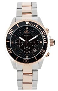 Burgmeister Toronto Bm317-927 Gents Quartz Analogue Wristwatch Stainless Steel Bracelet Bicolor Black Dial Date 24H