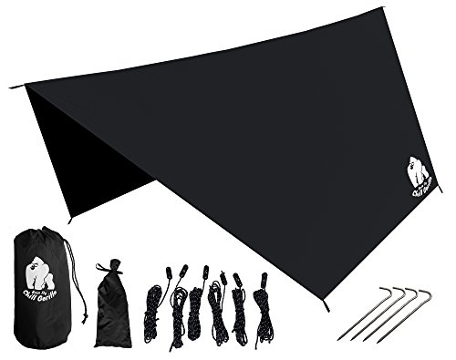 Chill Gorilla Pro Waterproof Tent Tarp, Rain Fly and Hammock Shelter [Essential Camping and Survival Gear] RIPSTOP Nylon Black (Rain Flies For Backpacks compare prices)