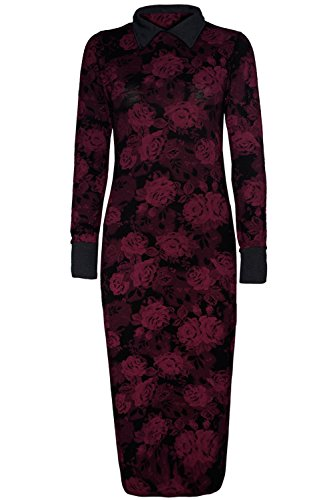 Oops Outlet Women'S Floral Long Sleeve Contrast Collar Long Midi Dress M/L (Us 8/10) Wine/Black