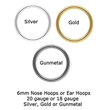 buy 6Mm Seamless Nose Hoops Or Ear Hoops In 20G Or 18G With Colors In Silver, Gold Or Gunmetal