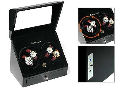 Quad Black Automatic Watch Winder Box for 4 Automatic Watches