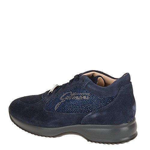 GATTINONI, scarpe donna, PIGAT6039WSA , sneakers, camoscio, brillantini, punti luce,zeppa (40, Dk blu)
