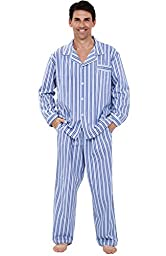 Del Rossa Men\'s Cotton Pajamas, Long Woven Pj Set, Medium Dark Blue and White Striped (A0714P19MD)