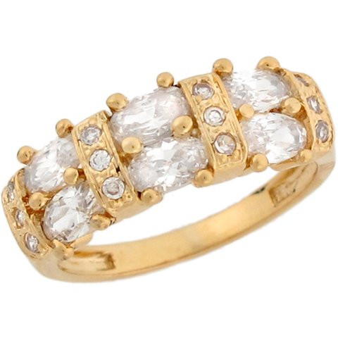 9ct Yellow Gold White CZ Queen Eternity Band Ladies Ring