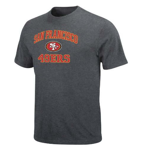 NFL Men's San Francisco 49ers Heart And Soul Ii Adult Short Sleeve Basic Tee (Heather Grey, X-Large) at Amazon.com