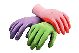 G & F 15226M Women\'s Garden Gloves, nitrile coated work gloves, assorted colors. Women\'s Medium (Pack of 6)