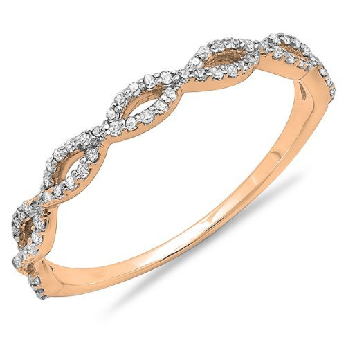 0.20 Carat (ctw) 10K Rose Gold Round Diamond Ladies Swirl Anniversary Wedding Band Stackable Ring 1/5 CT (Size 5.5)