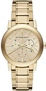 BURBERRY womens Yellow Gold-Tone Stainless Steel Chronograph Ladies Watch 38mm