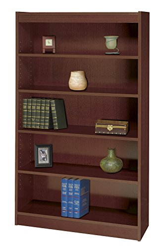 Safco 5-Shelf Square-Edge Veneer Bookcase - Mahogany Safco Workspace 5 Shelf