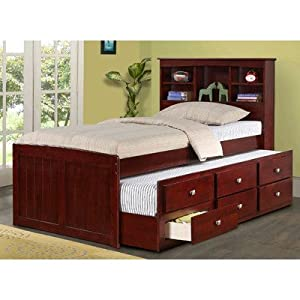 Captain Bed with Trundle and Bookcase Size: Twin by Donco Kids