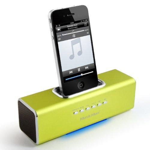 MusicMan TXX3550 Soundstation/Stereo Lautsprecher mit integriertem Akku (MP3 Player, Micro-SD Kartenslot, USB Steckplatz, iPhone/iPod Dock) grün