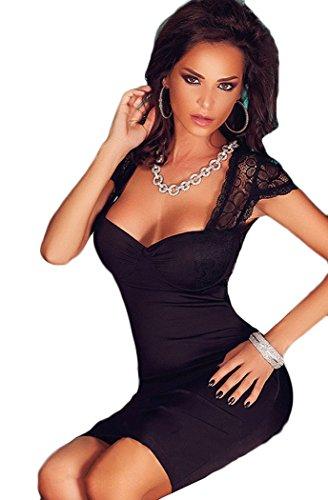 YFFaye Women's Lace Splice Cut Out Back Pleated Evening Dress Black Onesize