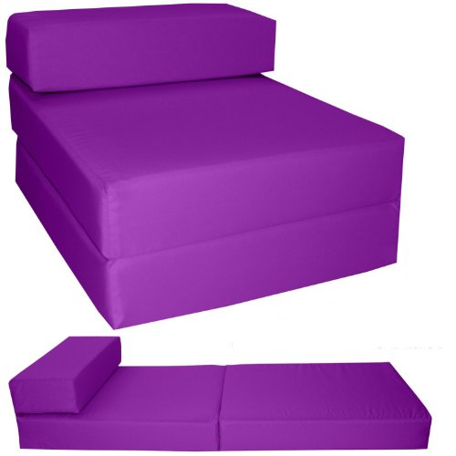 Gilda ® STANDARD CHAIRBED - PURPLE FRESCO Single Chair Bed Futon Water & Stain Resistant. Reversible. Removeable Cover. Lots more colours available in our AMAZON Shop