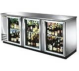 True 3 Door Stainless Steel Back Bar Refrigerator with Glass Doors
