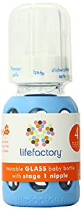 Lifefactory 4-Ounce Glass Baby Bottle with Silicone Sleeve and Stage 1 Nipple, Sky Blue