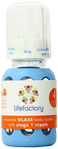 Lifefactory 4-Ounce BPA-Free Glass Baby Bottle with Protective Silicone Sleeve and Stage 1 Nipple, Sky Blue (Bpa Baby Bottles compare prices)