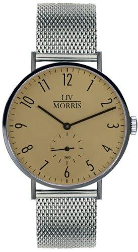 LIV MORRIS 1963 Modell CALLISTO MESH, im Bauhaus-Stil gehaltene Herrenuhr, Ø 41mm, feine Automatikuhr, massiv Edelstahl, Saphirglas, mechanisches SeaGull-Automatik-Uhrwerk