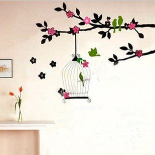 Green Birds - Large Wall Decals Stickers Appliques Home Decor