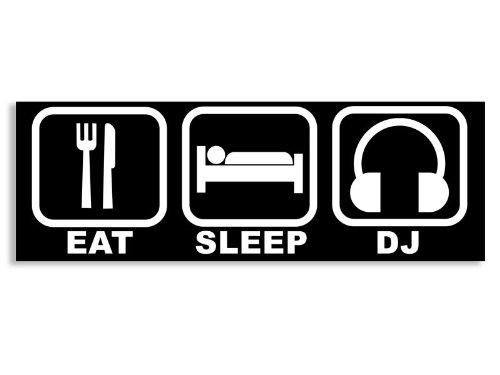 Black Eat Sleep Dj Bumper Sticker (Spin Music Headphones)