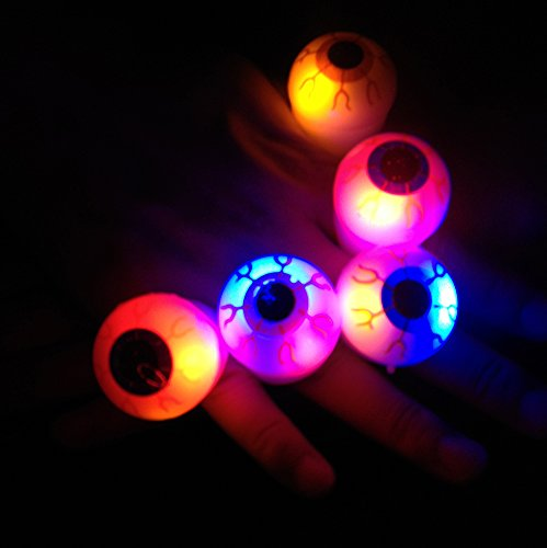 Amars (Tm) 12Pcs Super Funny Party Favors Eyeball Shaped Led Flash Rings For Kids Adult Creative Party Supplies Birthday Christmas Gift