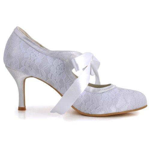 ElegantPark Women Mary Jane Closed Toe High Heel Pumps Lace Wedding Dress Shoes 3