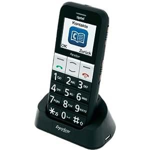 tiptel Ergophone 6070 GSM, téléphone grande touche portablé,noir débloqué logiciel original - incl. Tischchargeur station, Notruftaste, caméra, Radio, Aufzeichnen de Sprachnotizen