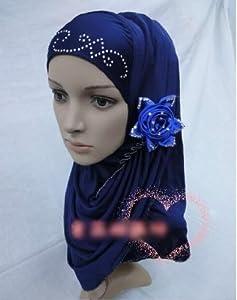 muslim ladies scarf muslim women hijab muslim girls FLOWER scarf in 12 colors (DARK BLUE)