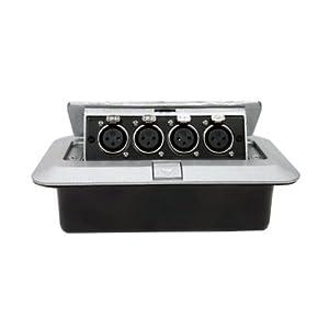 Pop up recessed metal floor box w 4 xlr for Xlr floor box