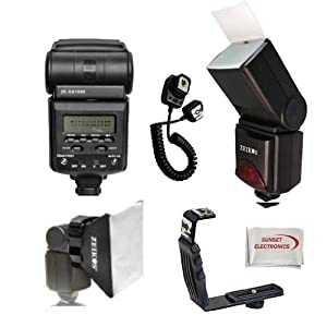 Best Value Professional AF Digital Flash Kit for NIKON D series Digital SLR Cameras. Also Includes Bonus Wide Flash Diffuser & Flash Stand. Professional Right Angle Flash Bracket, Off Camera Flash Cord, Bounce Reflector and Professional Soft Box Flash Diffuser & SSE Microfiber Cleaning Cloth