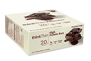 thinkThin High Protein Bars, Chocolate Fudge, 2.1 Ounce (pack of 10)