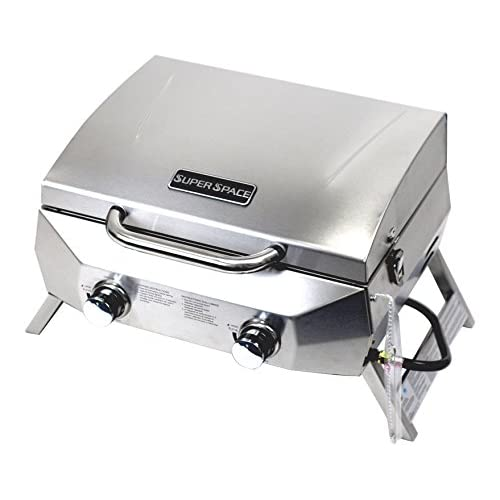 SUPERSPACE 2 Burner Stainless Steel BBQ Tabletop Propane Gas Grills, 20,000 BTU
