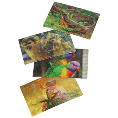 Lot Of 72 Assorted Rainforest Animal Theme Hologram Changing Stickers - 1