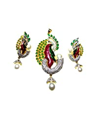 Poddar Jewels Cubic Zirconia Purple/Green Meena Pearl Pendant Set