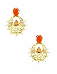 The Art Jewellery Rajwadi Ethnic Drop Earrings For Women In Orange
