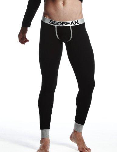 SEOBEAN Herren Low-Rise Long John Unterhose Trunks Lange Unterwäsche Thermounterwäsche (XS(25-27