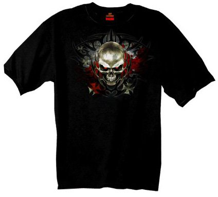 Hot Leathers Tribal Skull T-Shirt (Black, XXX-Large)