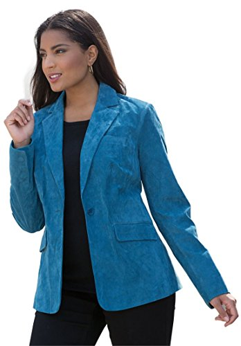 Jessica London Womens Plus Size Fitted Suede Blazer