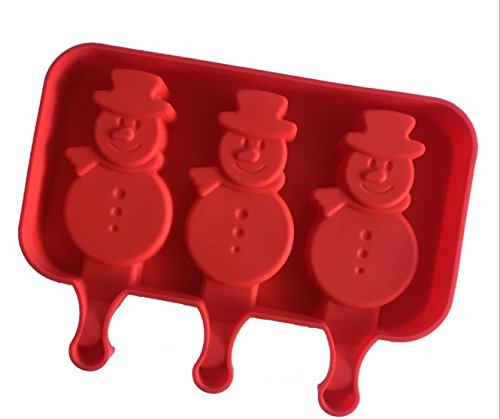 Cake Pop Makers Cute 3 Hole Snowman Winter Silicone Ice Cream Mold Popsicle Jelly Lolly For A1065 (Babycakes Flip Cake Pop Maker compare prices)