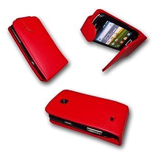 Handycop® Flip Ledertasche Tasche Leder Mappe Etui Vertikal Holster Klapptasche Passgenau für Samsung S5570 Galaxy Mini Rot
