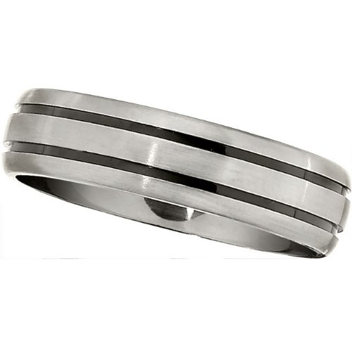 Titanium, Grooved Domed Wedding Band (sz 8.5)