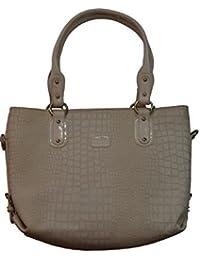 Knott Fashionable White Croco Print Hand Bag For Women