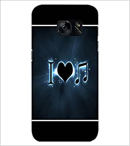 PrintDhaba I Love Music D-1426 Back Case Cover for SAMSUNG GALAXY S7 (Multi-Coloured)